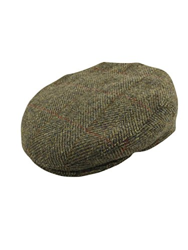 Harris Tweed - Boina - hombre Verde Green & Red Herringbone