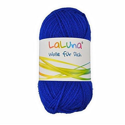Creleo 791911 Uni Wolle, 100% Polyacryl Wolle, Garn zum Stricken und Häkeln, 50 g, 135 m, blau
