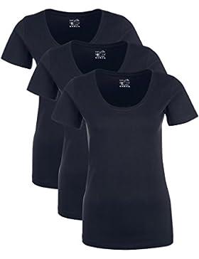 Berydale T-Shirt Donna con Scollo Tondo, Confezione da 3 in Diversi Colori