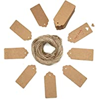 (One size, brown) - 100pcs Gift Tags/Kraft Hang Tags with Free Cut Strings for Gifts Crafts and Price Tags Scalloped Tag Style Colour Rectangular With Heart