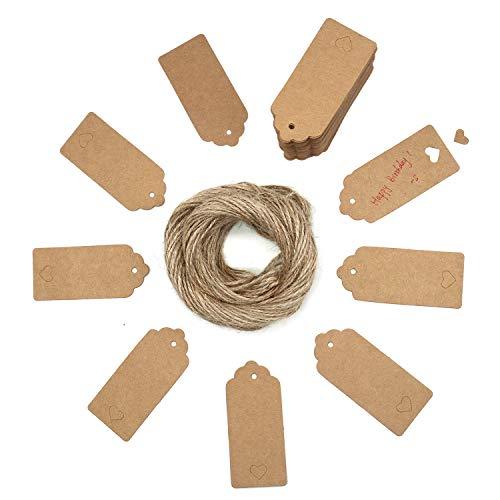 Stoncel targhette da regalo 100 pezzi/tag da appendere kraft con corde da taglio gratis per articoli da regalo artigianato e cartellini dei prezzi smerlato tag style colore rettangolare con cuore