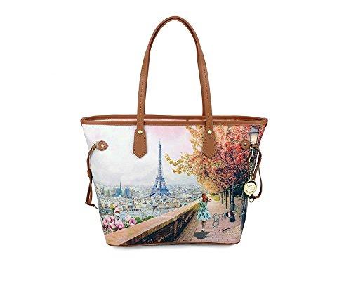 Borsa donna Y Not Parigi Eiffel J-319 Shopping grande 32c2ae68d77