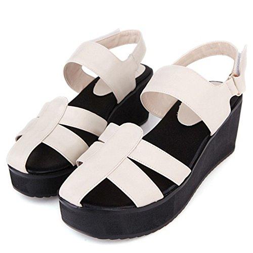 TAOFFEN Damen Fashion Plateau Keilabsatz Sandalen Ankle Strap Slingback Schuhe Apricot