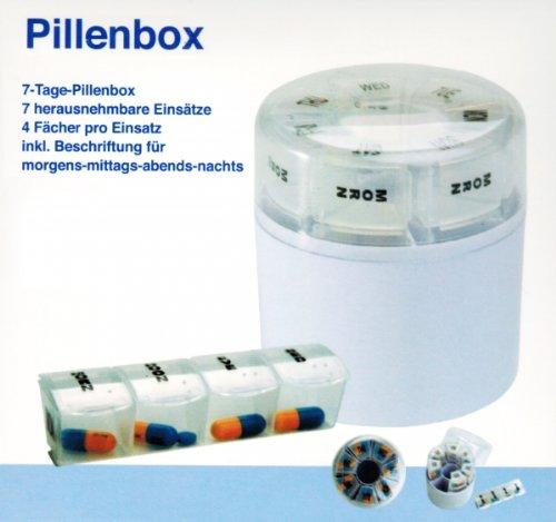 7 Tage PILLENBOX rund Pillendose Tablettenbox Medikamentenbox Pillen Dose Box 97 -