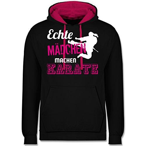 Shirtracer Kampfsport - Echte Mädchen Machen Karate - S - Schwarz/Fuchsia - JH003 - Hoodie zweifarbig und Kapuzenpullover für Herren und Damen