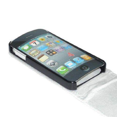 iPhone 4 Case: Housse étui coque cuir avec rabat pour Apple iPhone 4 4G - Blanc Blanc