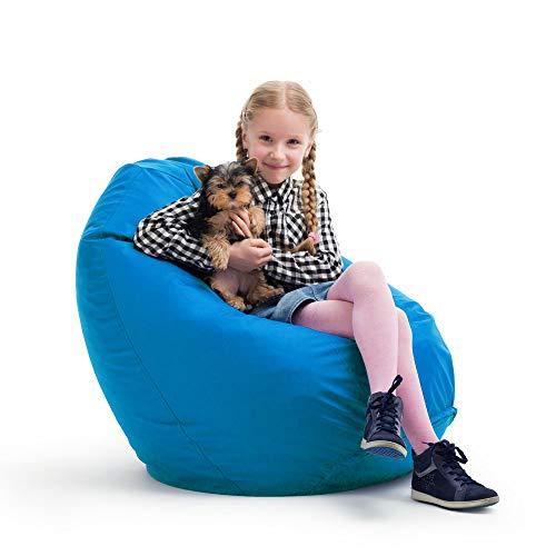 Bruni Sitzsack Kinder Classico Kinder Sitzsack Tropfenform mit EPS Perlen und Innensack (türkisblau)