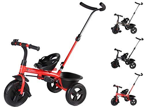 Clamaro \'Buttler Basic\' 2in1 Kinderwagen Dreirad ab 1 Jahr mit lenkbarer Schubstange, mit flüsterleisen Gummireifen, Vor- und Rücklauf, Kinderdreirad für Jungen und Mädchen - Rot