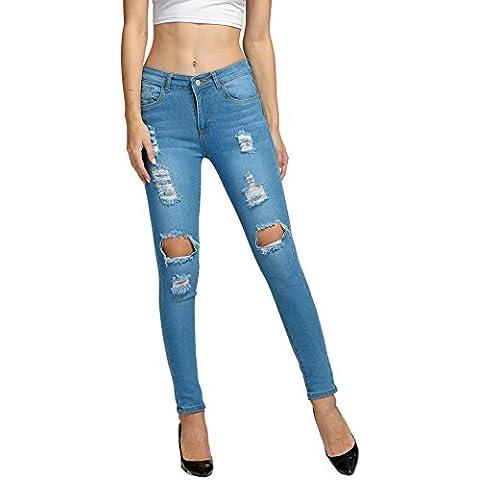 ZEARO Mujeres Vaqueros Pantalones de Casual Mezclilla Agujeros Jeans