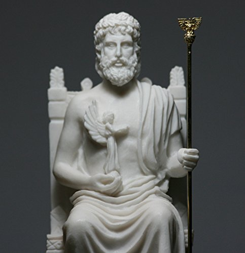 King of Gods Griechische Alabaster-Statue, Skulptur, Dekoration, Zeus, Jupiter, 26,9 cm (Jupiter-statue)
