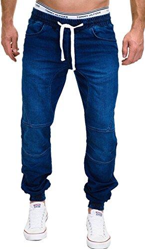 MERISH Jeans Hombres Vaqueros Jogger Denim Pantalones Modell J3008 Azul W29