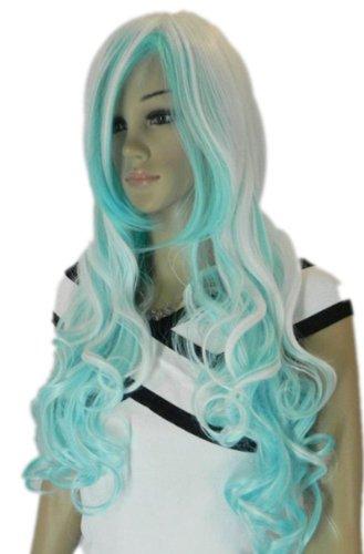 (QIYUN.Z Haarteile Damen Perücken Langen Lockigen Wellenförmig Wei?Silber Blau Mix Voller Anime Cosplay Kostüm Perücke)