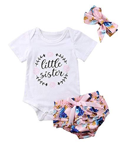 Vatertag Neugeborenes Baby Mädchen Kleidung Sommer Outfit Sets Strampler Shorts Stirnband für Papa Mama Fathers Day (Weiß & Blau jünge Schwester, 80 für 6-12 Monate) ()