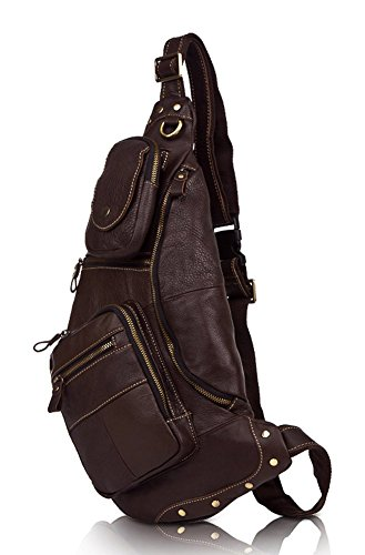 Everdoss Hommes sac de poitrine en cuir sac banane sac à bandoulière sacoche sac de sport sac de loisirs