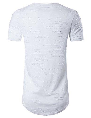 YCHENG Herren Lange T-Shirt Kurzarm Rundhals Basic Oversize Shirt Weiß