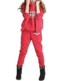 ZANZEA Femme Automne Hiver Hoodie Coat+Vest+Pant 3 en 1 Jumper Sweater Suit Survêtement Jacket Outwear