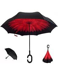 Parapluie Inversé, Innovant Double Couche Parapluie Inverse anse en C, YUMOMO anti tempete coupe vent et UV