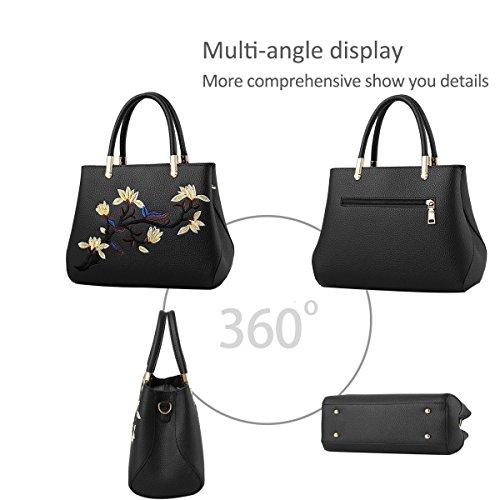 Ruiren Multifunktions gestickte weiche Tasche Portable Umhängetasche Frauen Messenger Bags Frauen Handtasche Schultertasche Schwarz