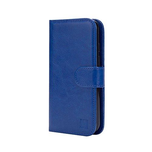 32nd PU Leder Mappen Hülle Flip Case Cover für Alcatel Pixi 4 (5) 4G, Ledertasche hüllen mit Magnetverschluss & Kartensteckplatz - Blau