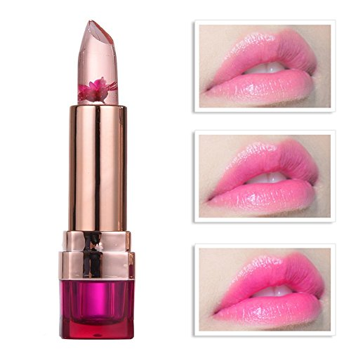 Jelly Transparente Blume Lippenstift Farbwechsel Temperaturänderung Lipstick Moisturizing Langlebigen Nicht Verblassen Lip Gloss Molie