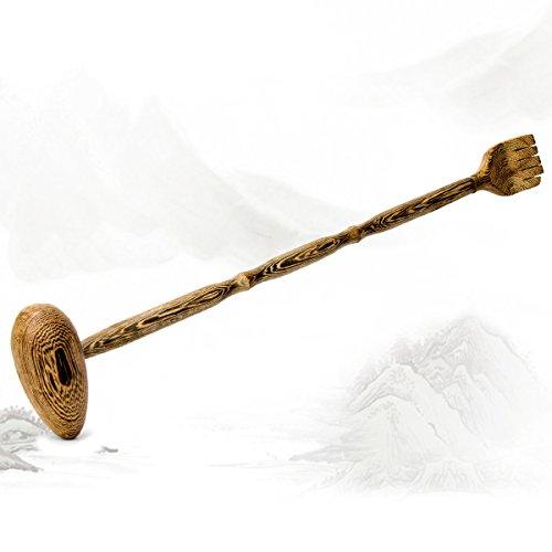 AKUNSZ 2 en 1 Rascador espalda Masajeador espalda madera Back scratcher con masaje martillo Manual masajeador