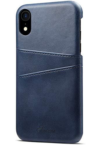 SAVYOU iPhone XR Schutzhülle für iPhone XR 6,1 cm (6,1 Zoll), schlankes Leder, Kartenfächer, stoßfest, iPhone XR, blau Executive Leder-cell