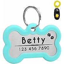 Didog Etiquetas de identificación para Perro Personalizadas con Grabado Brillante Intermitente, silenciador Oscuro para Proteger