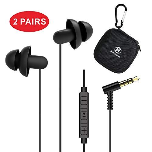 Silikon Schlaf Ohrhörer, Hearprotek komfortable Anti-Lärm In-Ear Kopfhörer Ohrstöpsel 3,5 mm Stecker mit Mikrofon und Lautstärkeregler für Schlaflosigkeit, Seitenschläfer, Leichte Schläfer, Schnarchen