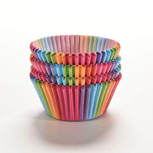 shyyymaoyi Bunte Regenbogen-Papierförmchen für Kuchen/Muffins, 100 Stück multi