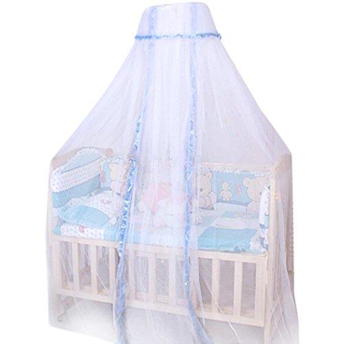 Runde Baby Moskitonetz, Zarupeng Langlebige Infant Moskitonetz Insektenschutz Fliegennetz für Kinderbett, Himmelbett, Krippe Baldachin Netting, Weiß (170cm x 420cm, Blau)