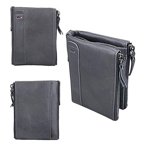 Qiy Mens Wallet, Echtes Leder, ID-Fenster-Kartenetui mit RFID-Blockierung, Doppelreißverschluss, Geldbörse für Herren, Grau -