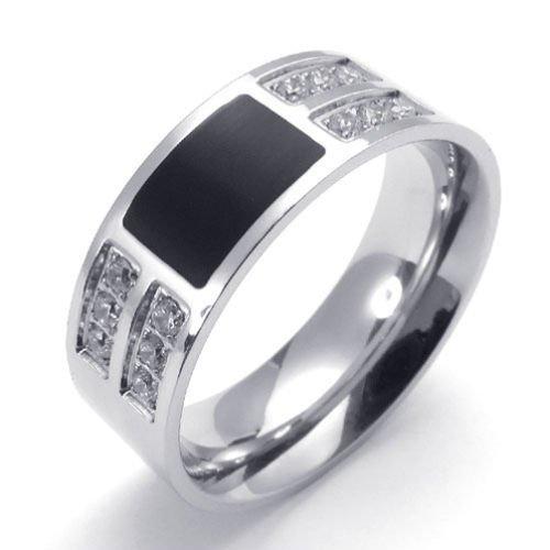 Edelstahl Silber Brillant-Schliff Klare Zirkonia Herren-Ringe Größe 65 (20.7) -- von Aooaz Schmuck