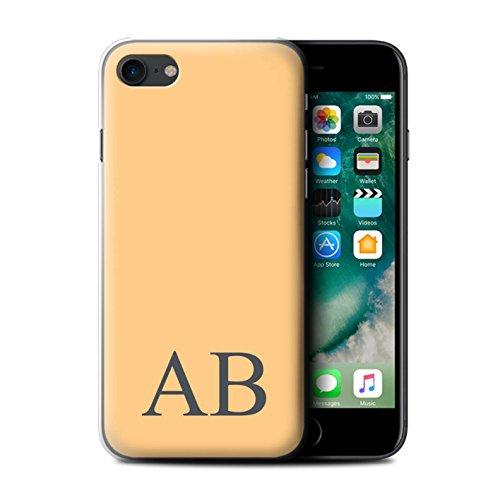Personalisiert Pastell Monogramm Hülle für Apple iPhone 7 / Korallen Design / Initiale/Name/Text Schutzhülle/Case/Etui Orange