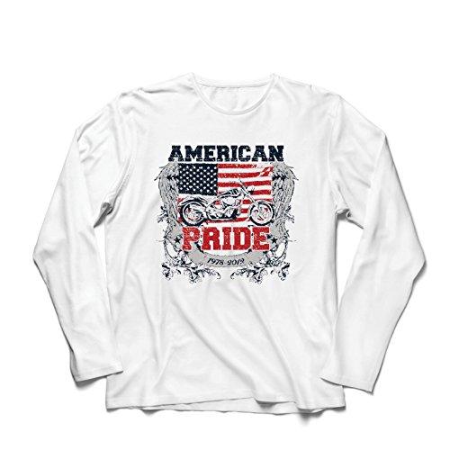lepni.me Maglietta a Manica Lunga da Uomo Classic American Pride Moto, Retro Motorcycle, Vintage Motobike (X-Large Bianco