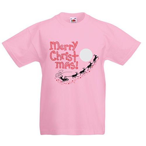 (lepni.me Kinder Jungen/Mädchen T-Shirt Weihnachtsmann und die Rentiere, Weihnachts-Outfits und Geschenke (5-6 Years Pink Mehrfarben))