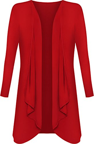WearAll - Damen Übergröße Lange Wasserfall Cardigan Top - Rot - 48-50