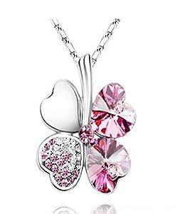 Femme Cristal Collier Trèfle à Quatre Feuilles Porte-bonheur Cristal et Chaîne chaine 18 inches en Plaqué Or Blanc 18 Carats- Pink