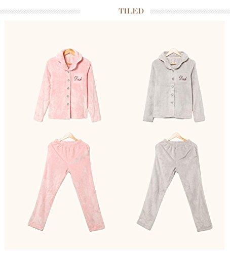 Manches longues flanelle revers pyjamas sortie hiver lingerie de nuit dernières femmes qui peut être porté à l'extérieur gray