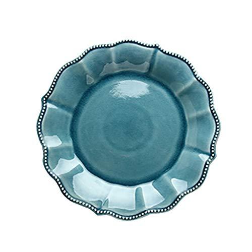 Elegante Schüssel Keramikschale Kreativität American Emboss Geschirr Teller Blue Ocean Serie Ice Crack Glasur Obstsalat Schüssel Teller (Größe: 21CM) (Größe : 26.5cm) -