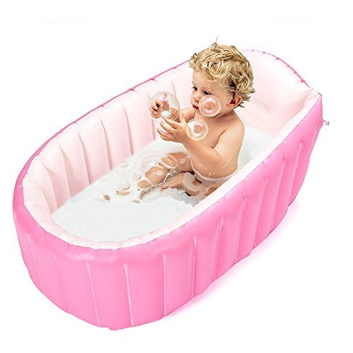 Inflatable Baby Bathtub,Topist Portable Mini Air Swimming Pool Kid Infant Toddler Thick Foldable Shower Basin with Soft Cushion Central Seat (Pink) by Topist