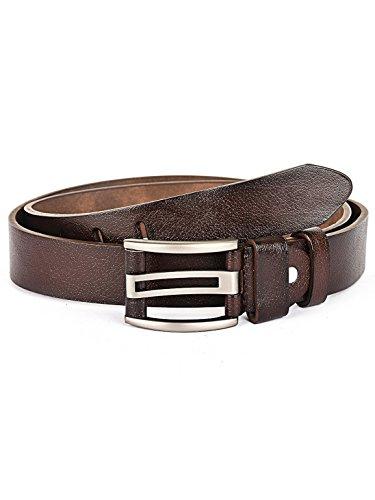 BUCKLE UP BuckleUp Men's Brown Leather Formal Belt