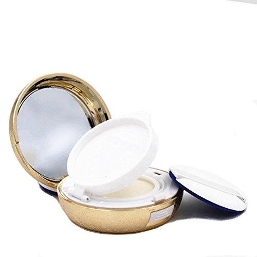 15 ml vide air portable Luxueux coussin fleur Boîte de teint liquide BB crème CC Boîte Support Coque Étui Coiffeuse Boîte à gâteaux Boîte de maquillage poudre avec Houpette Air Coussin éponge et miroir (Lot de 1)
