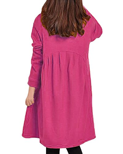 Auxo Femme Casual Lâche Manches Longues Shirt Robe Poches Pull-over Ourlet Irrégulier Tunique Longues Blouse Rose