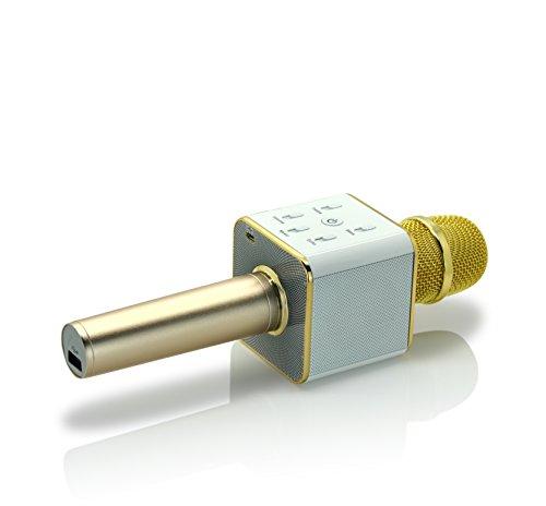 iProtect kabelloses Bluetooth-Mikrofon mit integriertem Lautsprecher und 5 Tasten zur Tonregelung – Karaoke-Mic (wireless) für iOS und Android in Gold (Karaoke-speicherkarte)