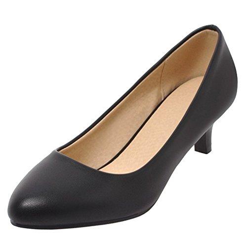 COOLCEPT Damen Solid ohne Verschluss Pumps Buro Schuhe 4CM Black Size 35 Asian