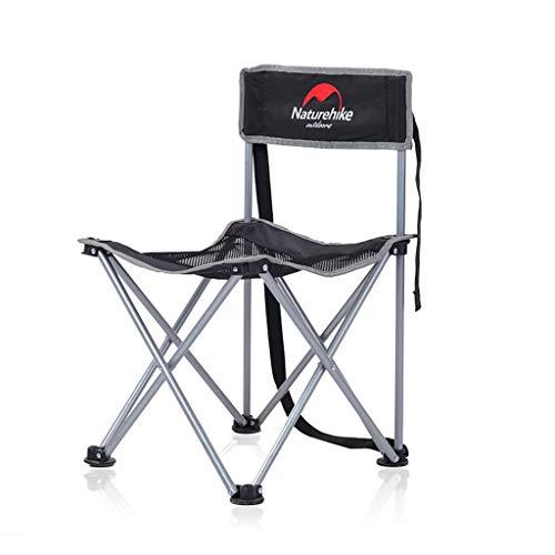 ch-AIR BBQ Camping Strandkorb Camping Ultra Light Garden Chair Folding Compact, Tragbare Outdoor - Stuhl Mit Tragetasche Für Outdoor - Aktivitäten, Camping, Strand, Rucksack Etc (Color : Black)
