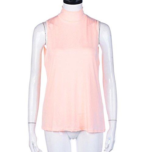 Femmes DéBardeur Basique,OverDose Sexy Top Gilets Body CôTelé à Col Roulé Solid Vest Rose
