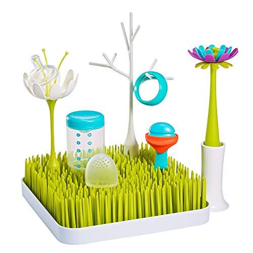 Boon B11220 GRASS STARTER SET 5 teilig - stylisches Abtropfgestell zum Trocknen von Geschirr und Besteck mit Zubehör für die Küche - BPA-, Phtalat- und PVC-frei, grün