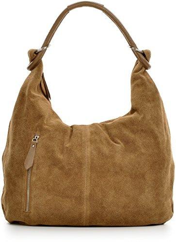 CNTMP Damen Schultertasche Leder, Hobo-Bag, Leder Handtasche Damen, Beuteltasche Wildleder, Leder-Tasche DIN-A4, 44x36x4cm (B x H x T) (Taupe) - Wildleder Hobo Handtasche