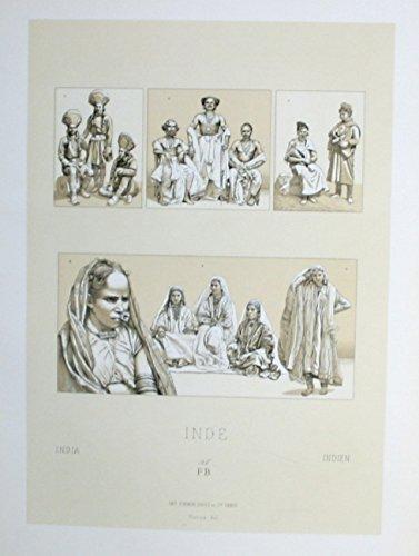 (Aboriginies Einwohner costumes Tracht Indien India Lithographie lithograph)